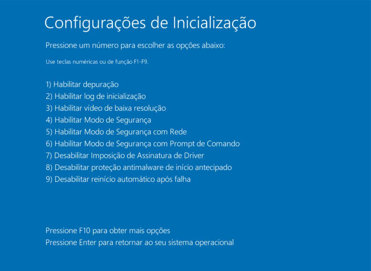 Iniciar o Windows 10 no modo segurança